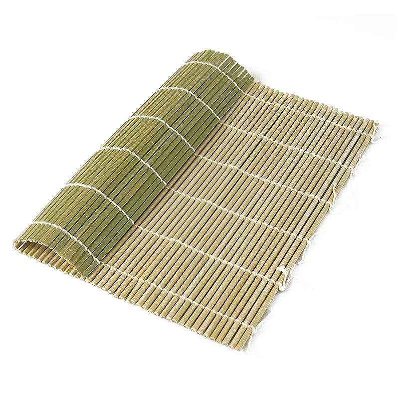 Bambus-Matte zur Sushi-Herstellung, grün, 27 x 26,5cm, flache Stäbchen