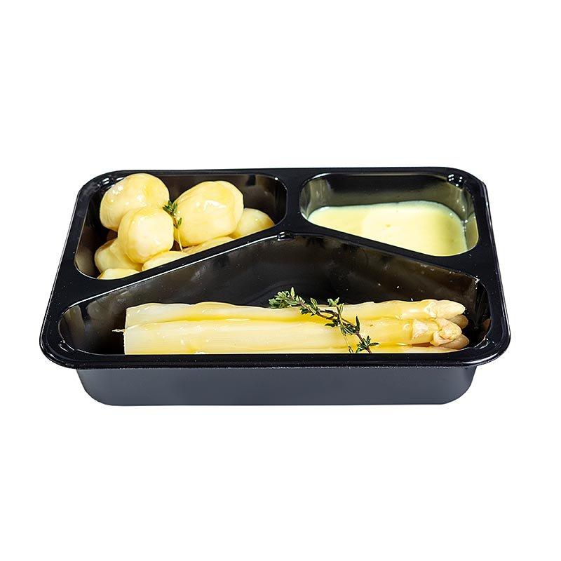 Menüschale Weißer Spargel, Butterkartoffeln, Hollandaise (Ostermenü), 520 g