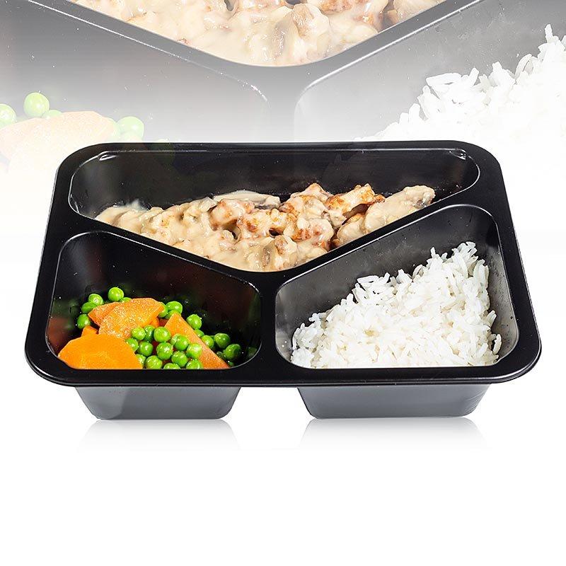 Menüschale Hähnchengeschnetzeltes, Champignonsauce, Erbsen-Möhrchengemüse, Reis, 460 g