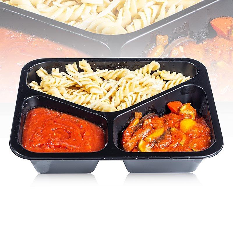 Menüschale Spirelli Nudeln mit Sauce Arrabiata & Ratatouille (vegetarisch), 450 g