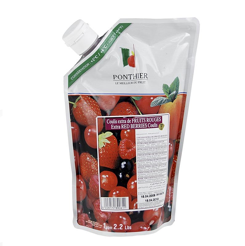 Coulis / Sauce - Rote Früchte Mix, mit Zucker, 1 kg