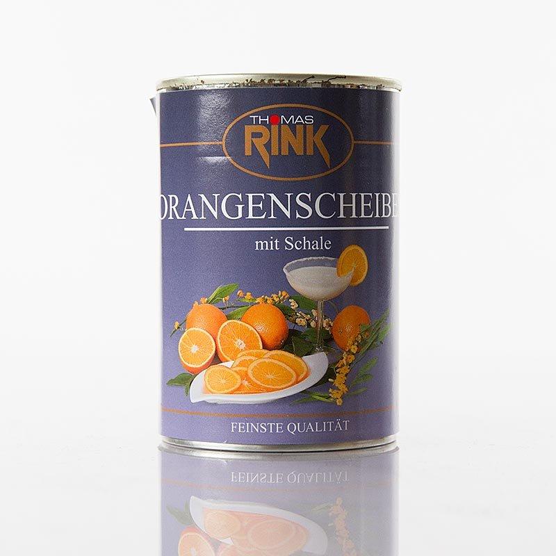 Orangen-Scheiben, mit Schale, stark gezuckert, 410 g