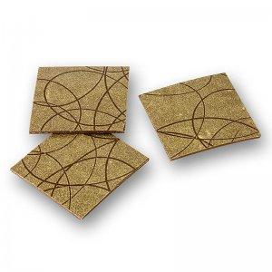 Deko-Aufleger Bling - Quadrat, Gold Linien, Zartbitter, 35x35mm, 864 g, 288 Stück