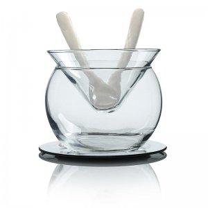 Desietra Kaviarglasschale (Bowle) mit Edelstahl Untersetzer und 2 Löffel, 5 tlg.