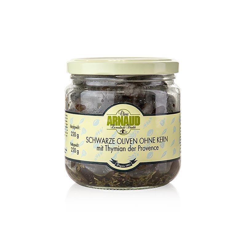 Schwarze Oliven, ohne Kern, mit Thymian, in Sonnenblumenöl, Arnaud, 220 g