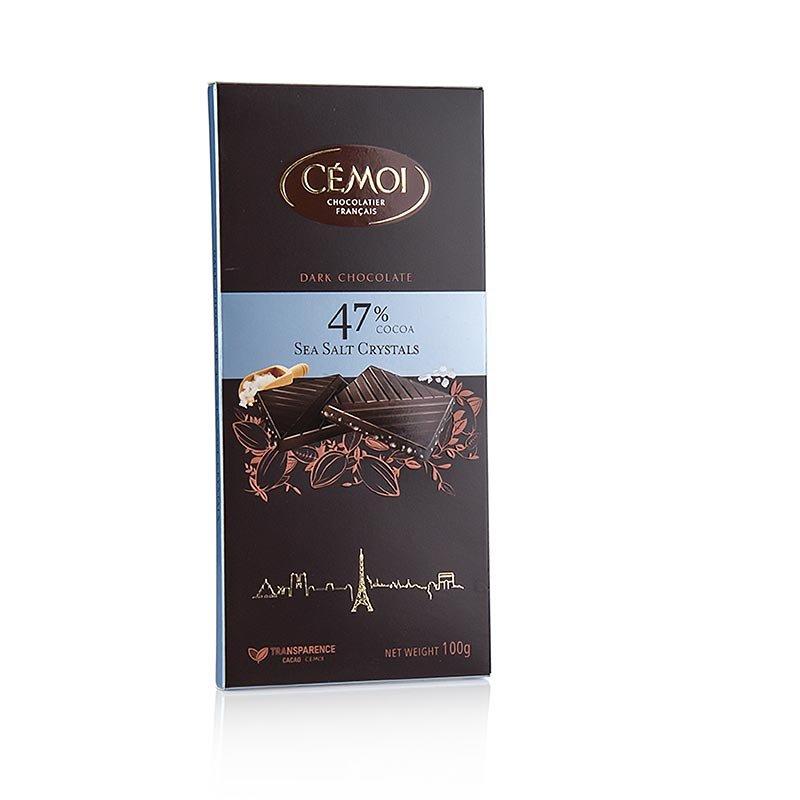 Schokoladen Tafel - Zartbitter 47% Kakao, mit Fleur de Sel, Cémoi, 100 g
