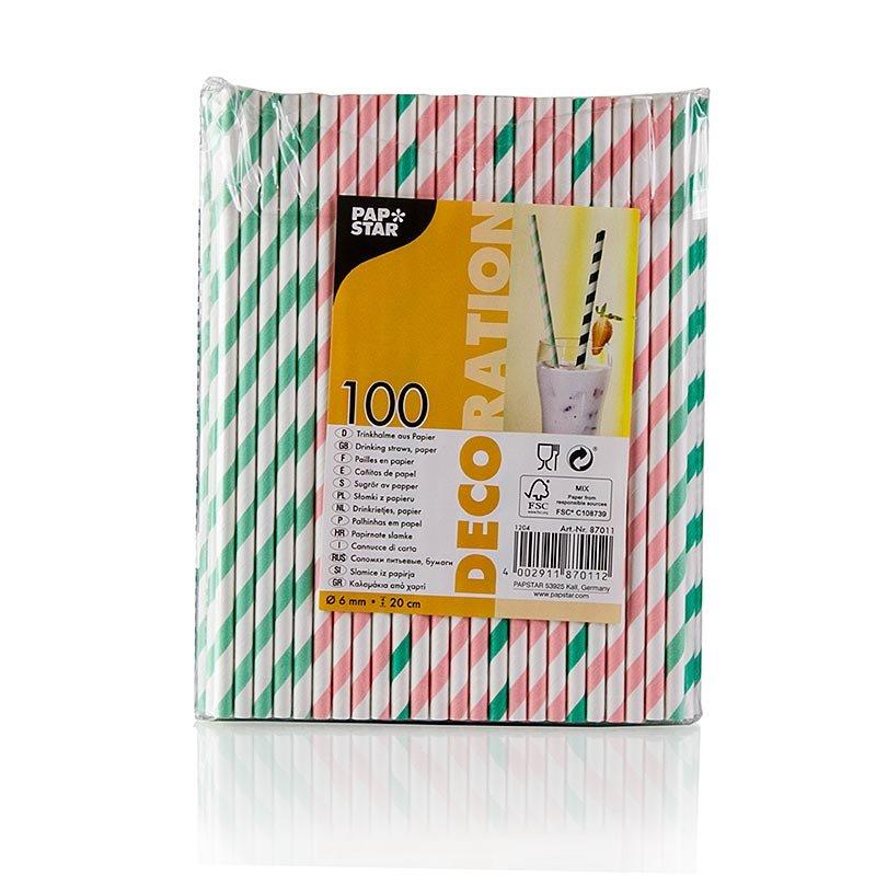 Einweg Papier Trinkhalme Streifen, 4 Farben, 20 cm, 100 Stück