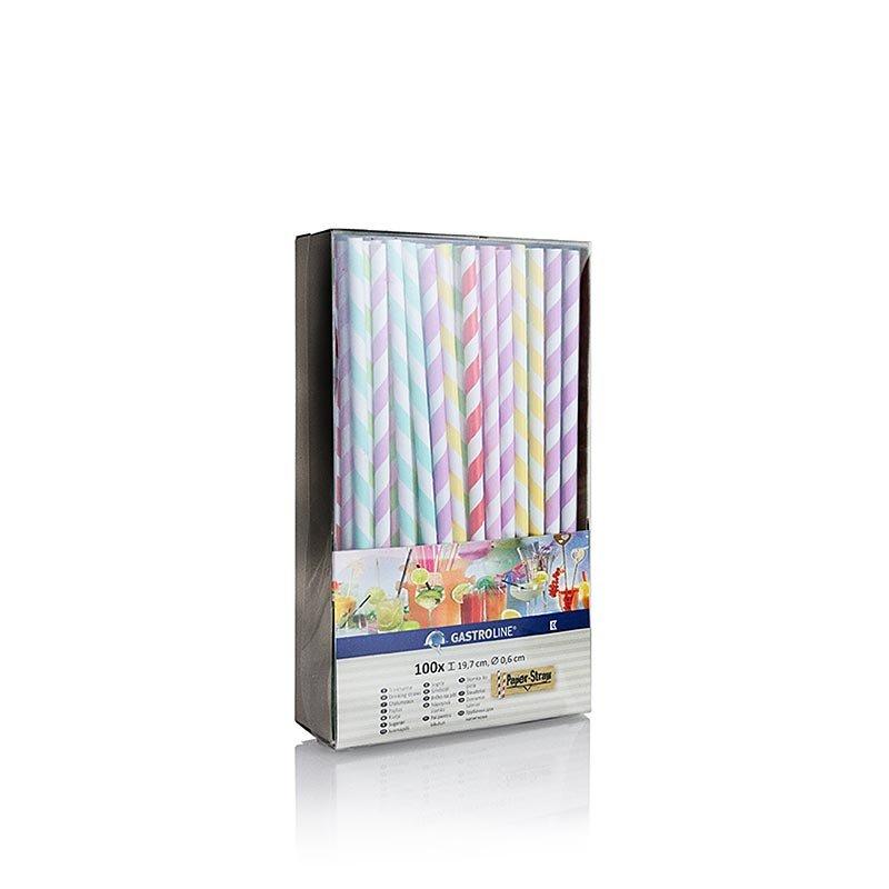 Einweg Papier Trinkhalme Streifen, 6 Farben, 19,7 cm, 100 Stück