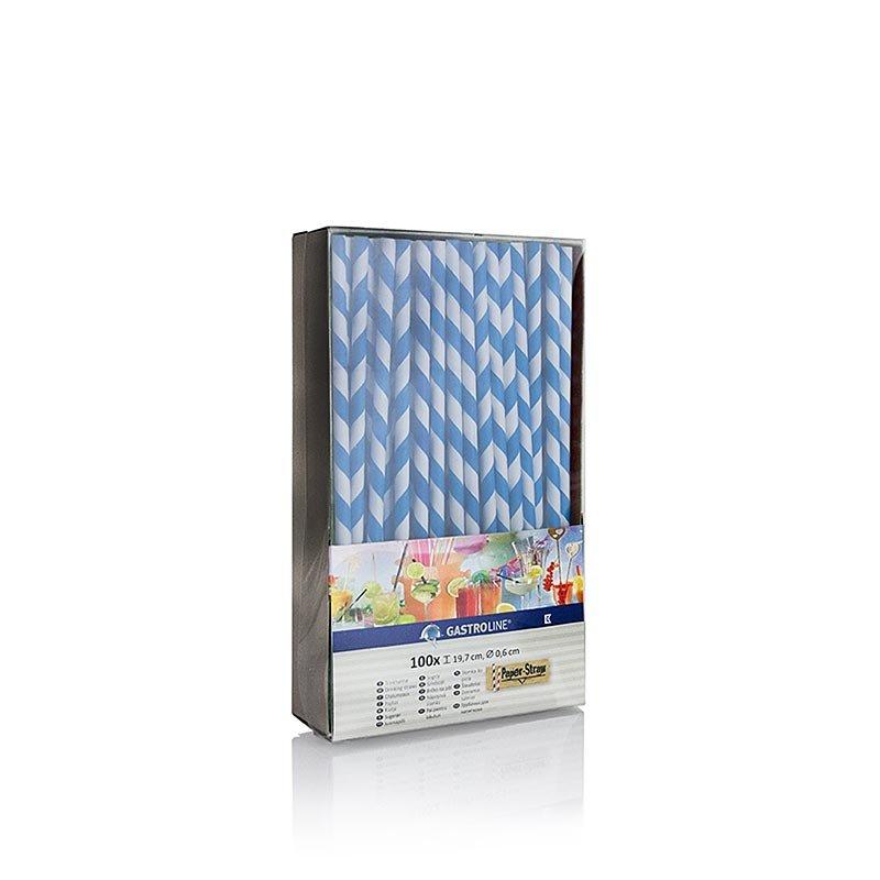 Einweg Papier Trinkhalme Streifen, blau-weiß, 19,7 cm, 100 Stück