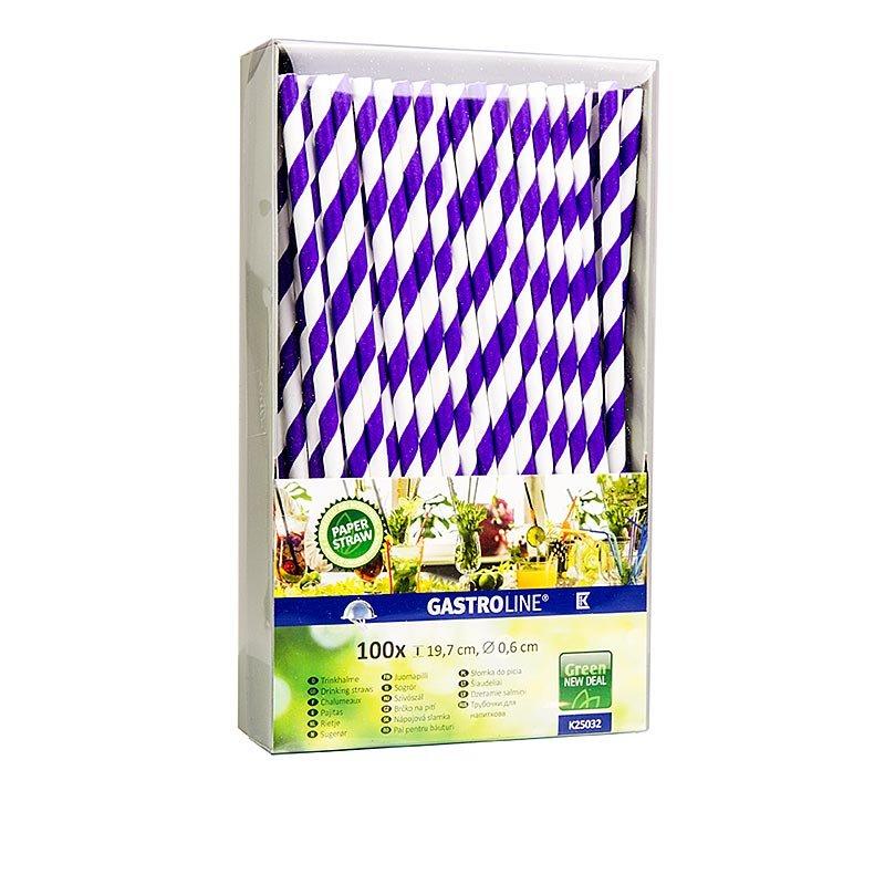 Einweg Papier Trinkhalme Streifen, lila-weiß, 19,7 cm, 100 Stück