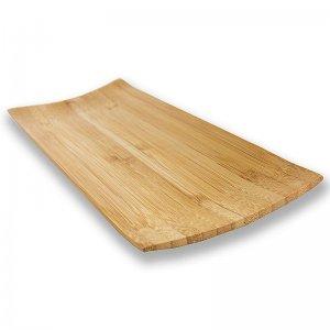 Mehrweg Bambusteller, braun, rechteckig, 24 x 10 cm, spülmaschinenfest, 1 Stück