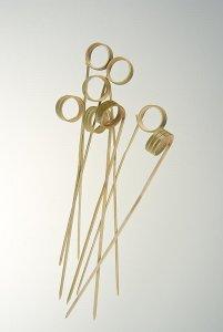 Bambus-Spieße, mit Loop (Ringende), 12 cm, 100 Stück