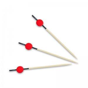 Bambus-Spieße, mit schwarz gefärbtem Ende, rote Scheibe, 9 cm, 100 Stück