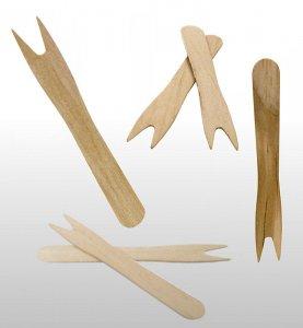 Snackgabeln/-picker - Pommespicker aus Holz, hellbraun, 8,5 cm, mit 2 Zinken, 1.000 Stück