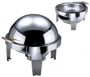 Roll Top Chafing Dish rund, aus Edelstahl mit einem Brennbehälter. Zusätzlich mit elektrischer Heizquelle (Art.7098/001*), 6,8 l
